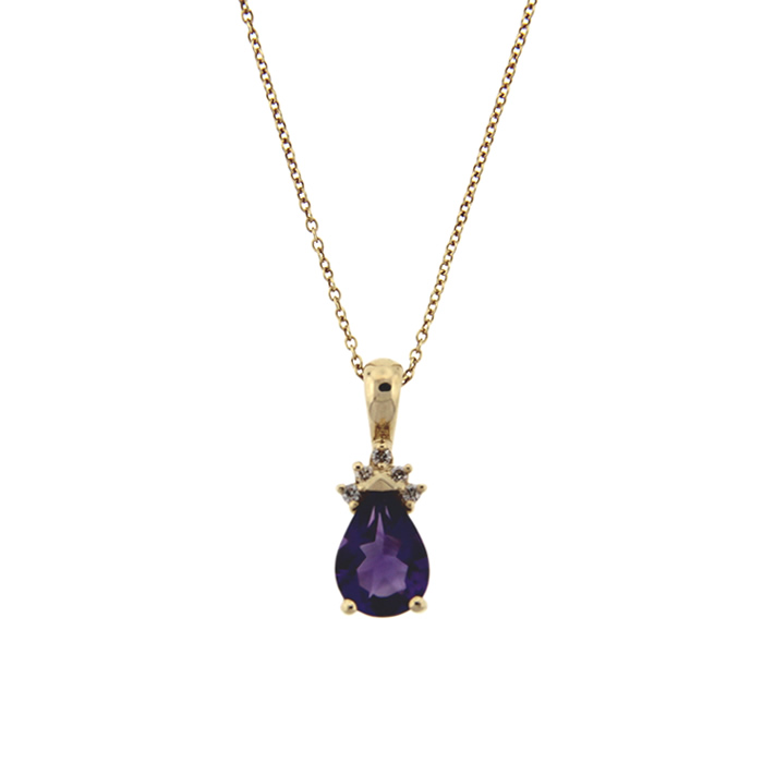 yellow k necklaces products diamond purple pendant and pendants amethyst