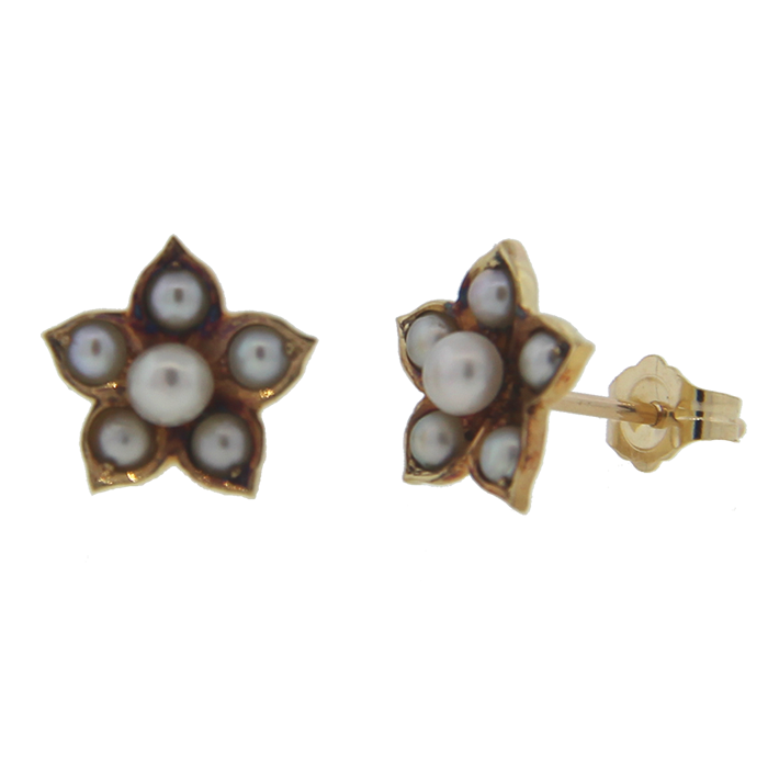 Large Seed Pearl Flower Stud Earrings 195 00 Donegal Jewelers Antique Contemporary Estate And Custom Jewelry